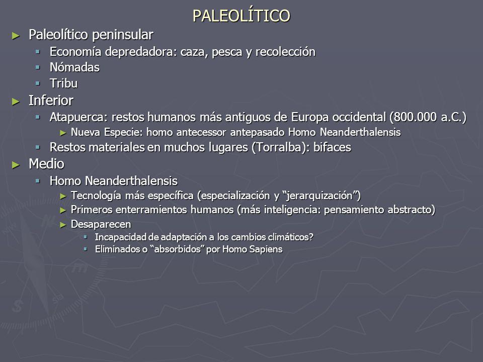 PALEOLÍTICO Paleolítico peninsular Paleolítico peninsular Economía depredadora: caza, pesca y recolección Economía depredadora: caza, pesca y recolecc
