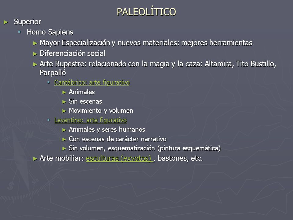 PALEOLÍTICO Superior Superior Homo Sapiens Homo Sapiens Mayor Especialización y nuevos materiales: mejores herramientas Mayor Especialización y nuevos