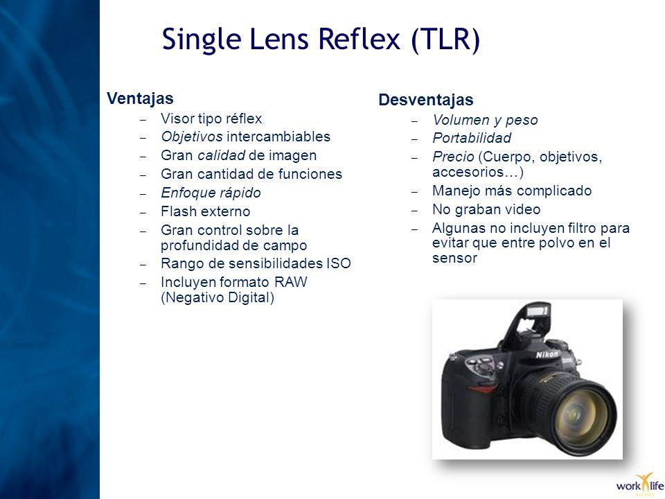 Ventajas – Visor tipo réflex – Objetivos intercambiables – Gran calidad de imagen – Gran cantidad de funciones – Enfoque rápido – Flash externo – Gran