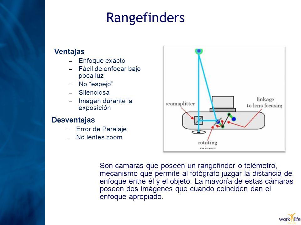 Rangefinders Son cámaras que poseen un rangefinder o telémetro, mecanismo que permite al fotógrafo juzgar la distancia de enfoque entre él y el objeto