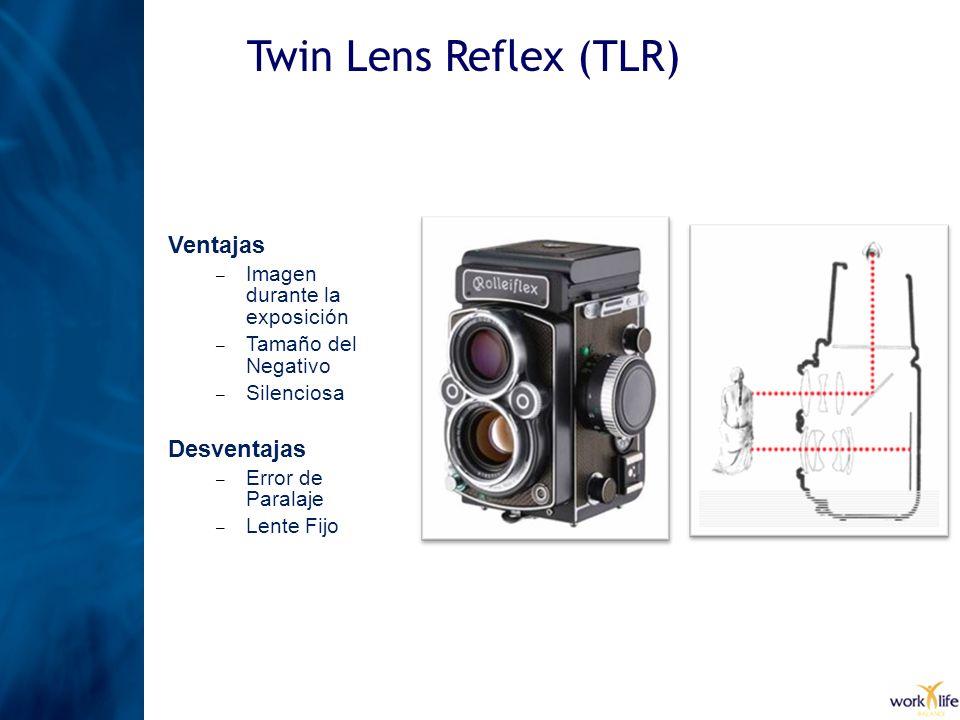 Twin Lens Reflex (TLR) Ventajas – Imagen durante la exposición – Tamaño del Negativo – Silenciosa Desventajas – Error de Paralaje – Lente Fijo
