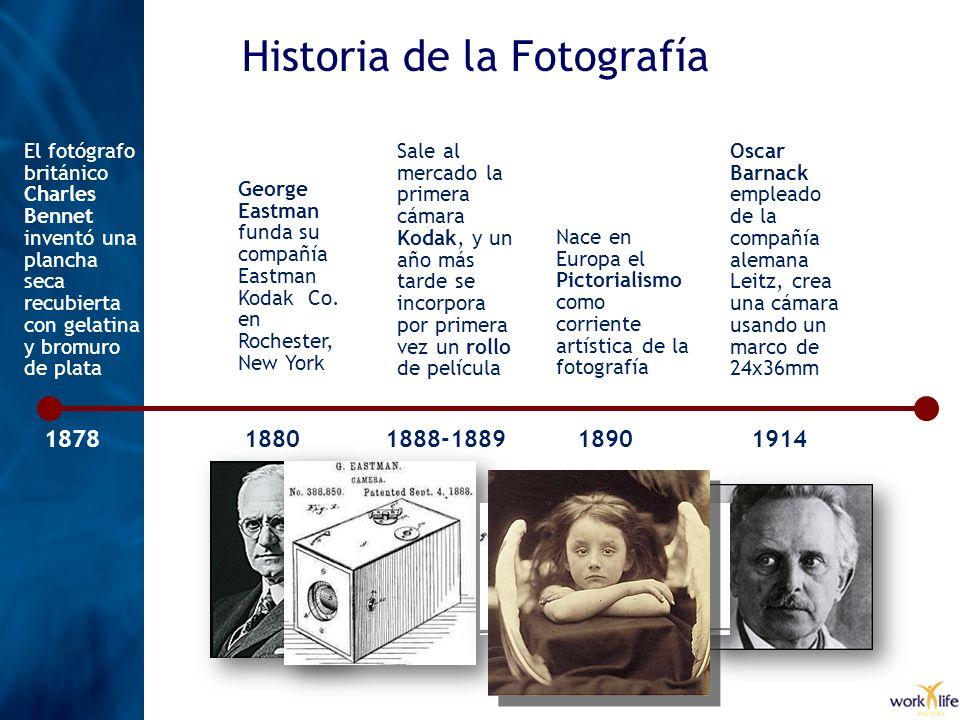 Historia de la Fotografía El fotógrafo británico Charles Bennet inventó una plancha seca recubierta con gelatina y bromuro de plata 1878 George Eastma