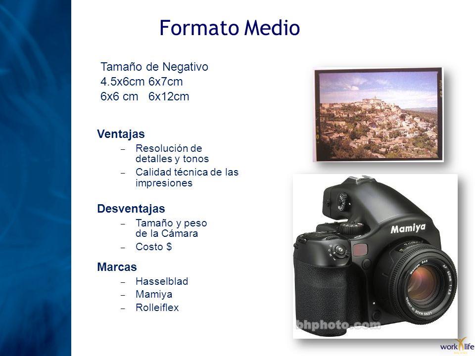 Formato Medio Tamaño de Negativo 4.5x6cm 6x7cm 6x6 cm 6x12cm Ventajas – Resolución de detalles y tonos – Calidad técnica de las impresiones Desventaja