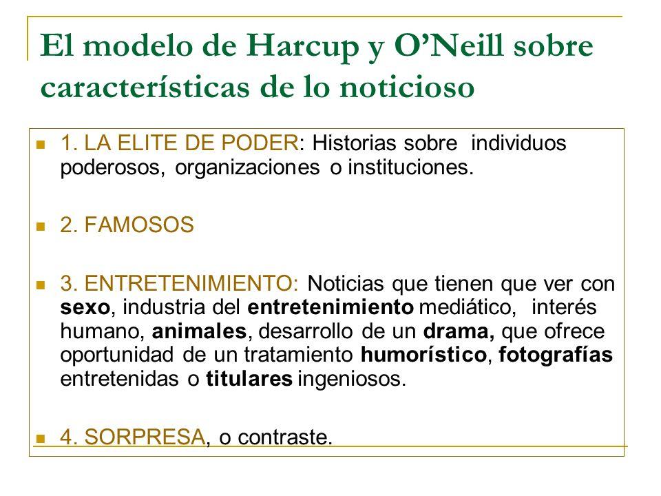 El modelo de Harcup y ONeill sobre características de lo noticioso 1.