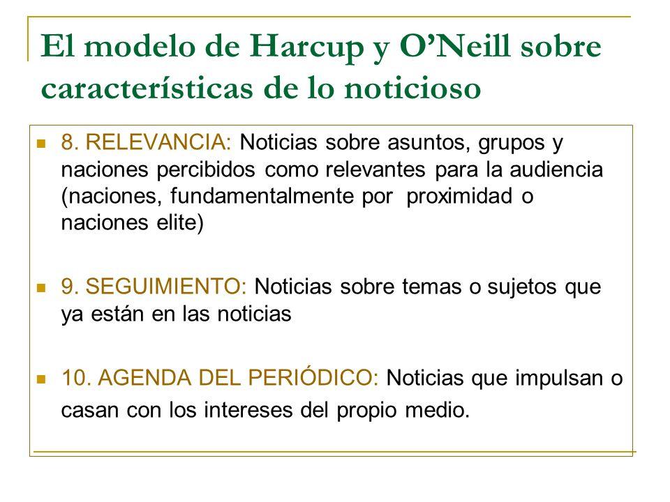 El modelo de Harcup y ONeill sobre características de lo noticioso 8.
