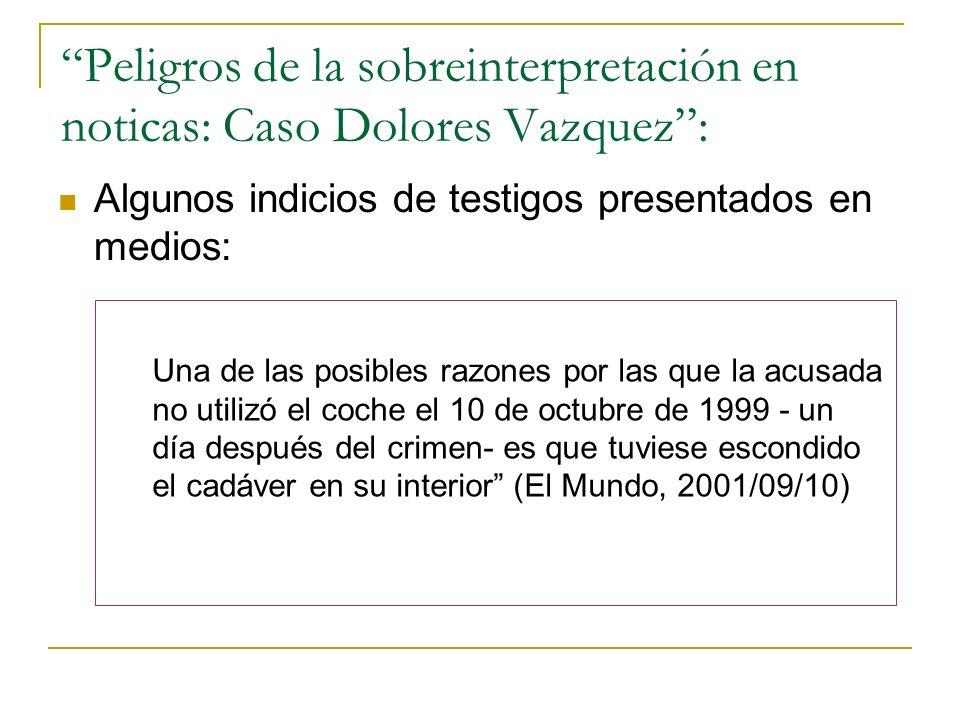 Peligros de la sobreinterpretación en noticas: Caso Dolores Vazquez: Algunos indicios de testigos presentados en medios: Una de las posibles razones p