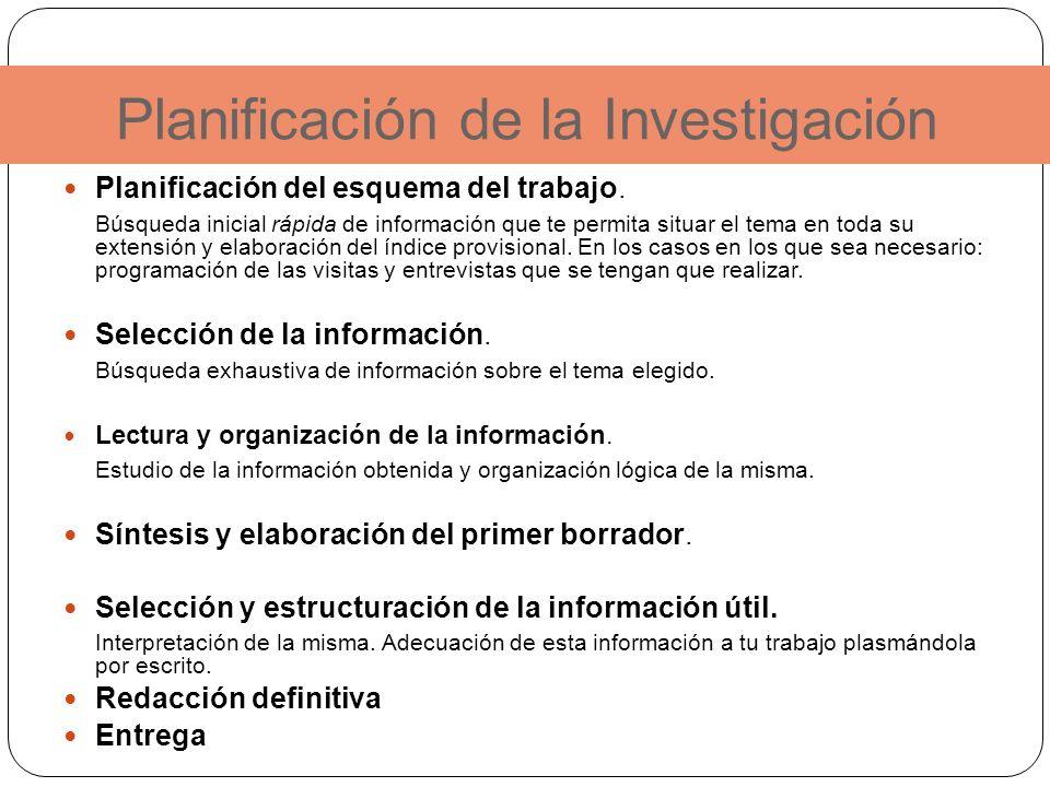 Planificación de la Investigación Planificación del esquema del trabajo. Búsqueda inicial rápida de información que te permita situar el tema en toda