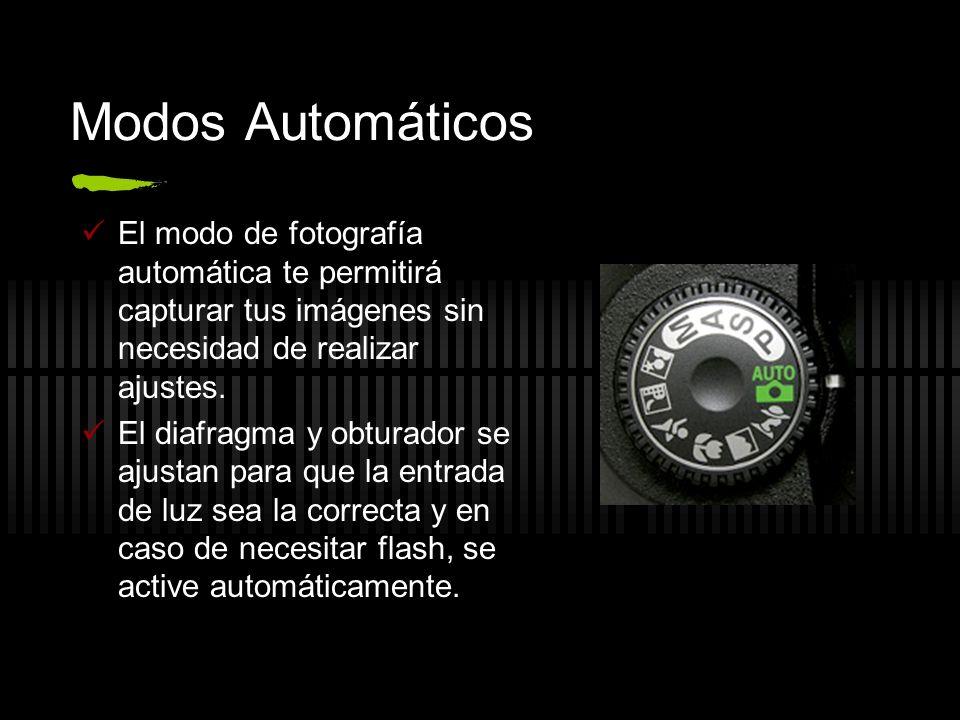 Modos Automáticos Con el fin de facilitar la producción fotográfica, las cámaras digitales han incluido en sus mandos de operación algunos programas de disparo con ajustes específicos para distintas condiciones de luz y movimiento.