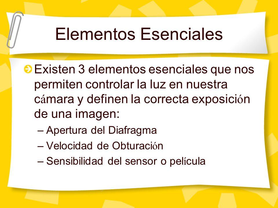 Elementos Esenciales Existen 3 elementos esenciales que nos permiten controlar la luz en nuestra c á mara y definen la correcta exposici ó n de una imagen: –Apertura del Diafragma –Velocidad de Obturaci ó n –Sensibilidad del sensor o pel í cula