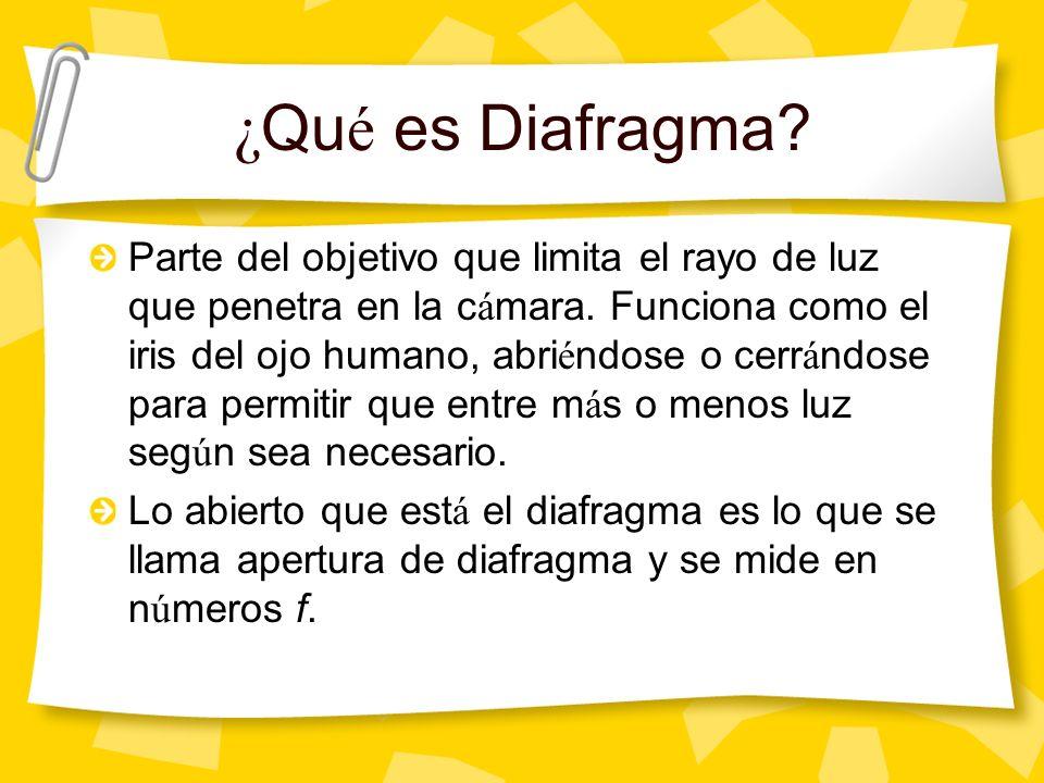 ¿ Qu é es Diafragma. Parte del objetivo que limita el rayo de luz que penetra en la c á mara.