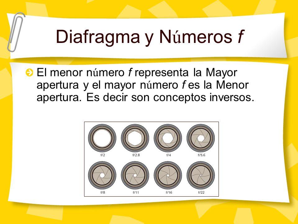 Diafragma y N ú meros f El menor n ú mero f representa la Mayor apertura y el mayor n ú mero f es la Menor apertura.