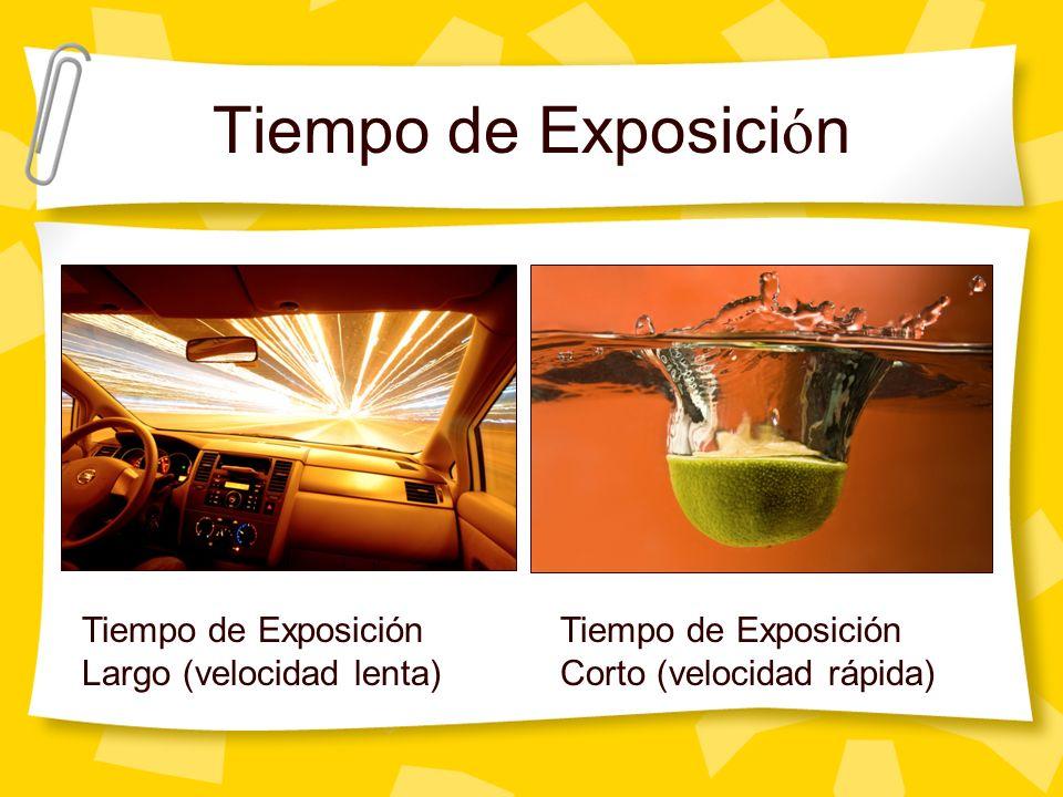 Tiempo de Exposici ó n Tiempo de Exposición Largo (velocidad lenta) Tiempo de Exposición Corto (velocidad rápida)