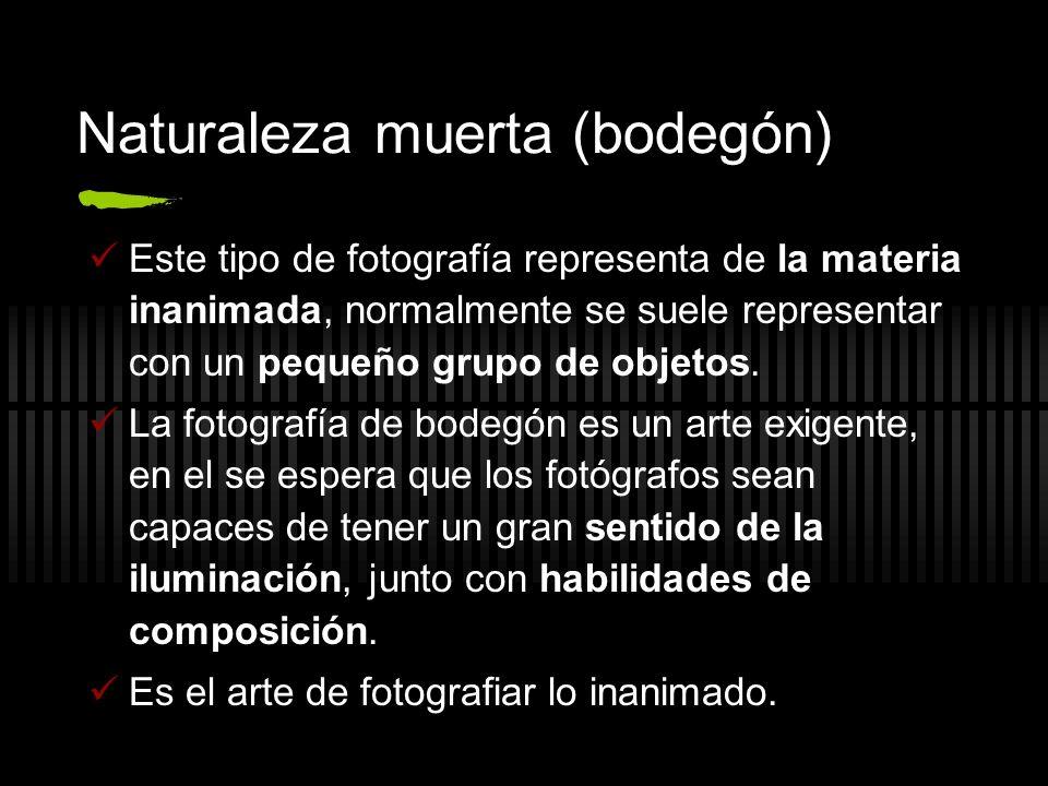 Naturaleza muerta (bodegón) Este tipo de fotografía representa de la materia inanimada, normalmente se suele representar con un pequeño grupo de objet
