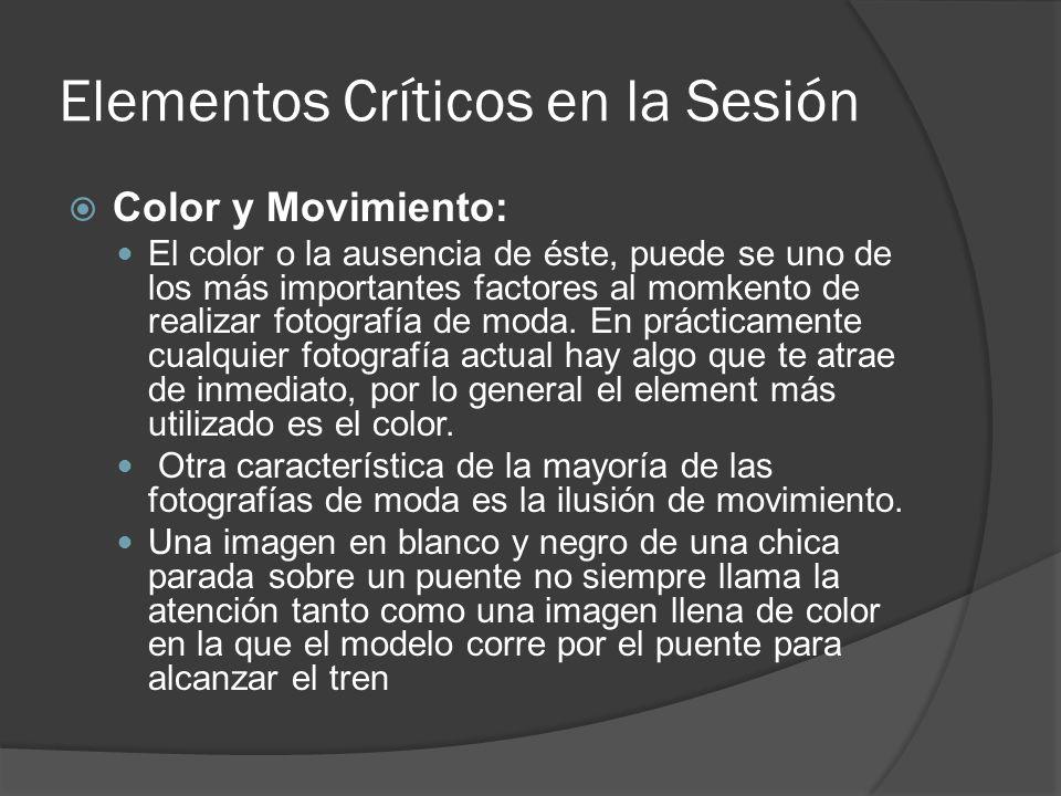 Elementos Críticos en la Sesión Color y Movimiento: El color o la ausencia de éste, puede se uno de los más importantes factores al momkento de realizar fotografía de moda.