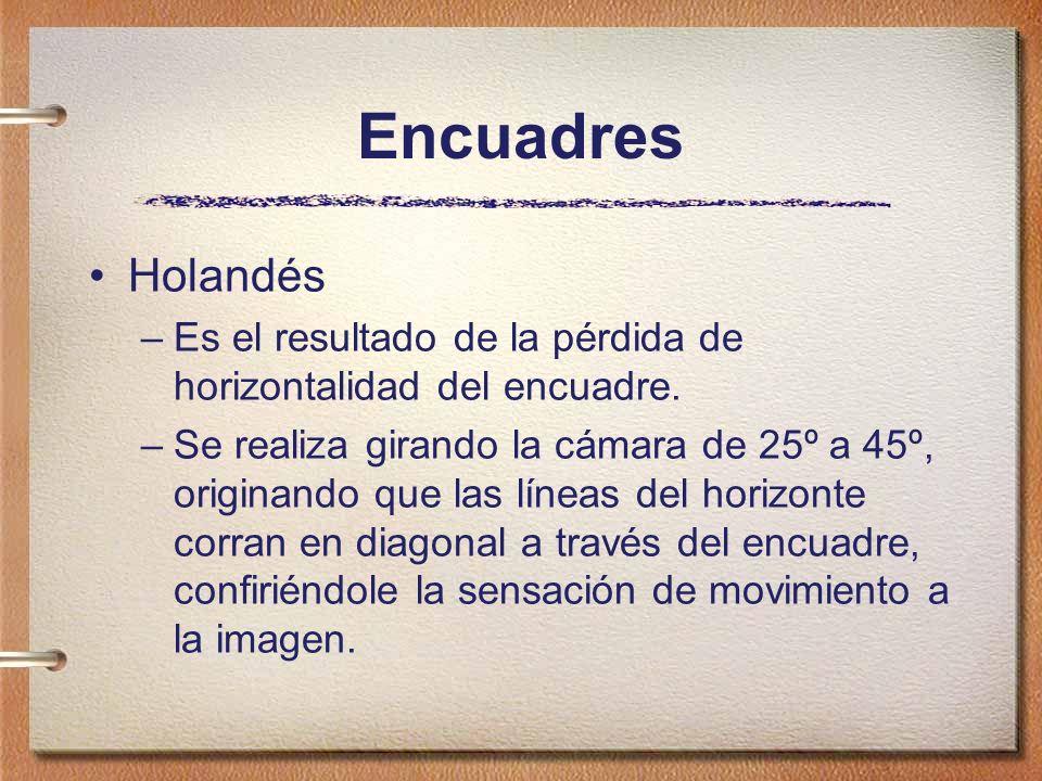 Encuadres Holandés –Es el resultado de la pérdida de horizontalidad del encuadre. –Se realiza girando la cámara de 25º a 45º, originando que las línea