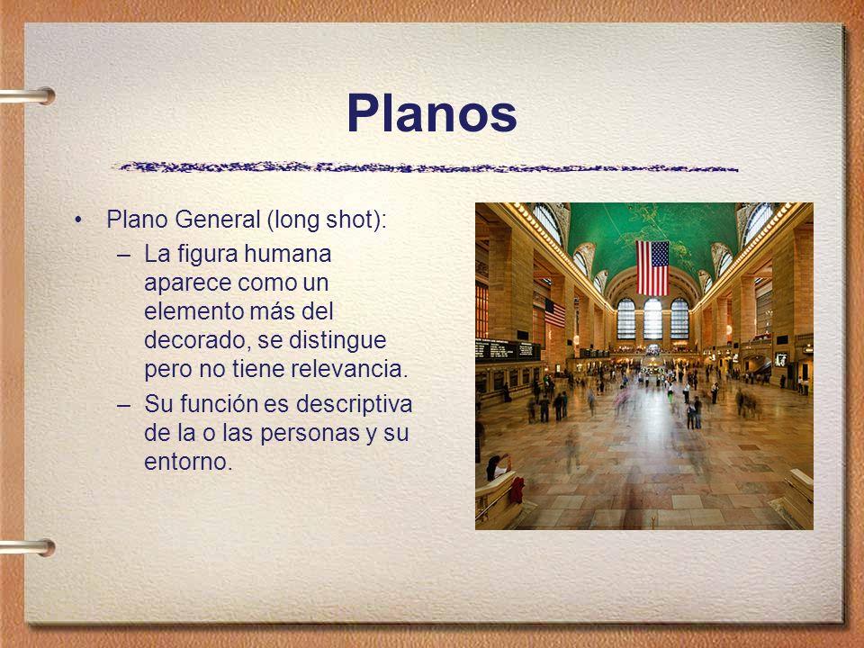 Planos Plano General (long shot): –La figura humana aparece como un elemento más del decorado, se distingue pero no tiene relevancia. –Su función es d