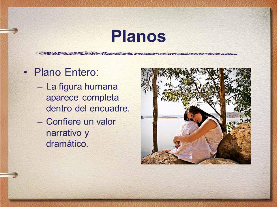 Planos Plano Entero: –La figura humana aparece completa dentro del encuadre. –Confiere un valor narrativo y dramático.