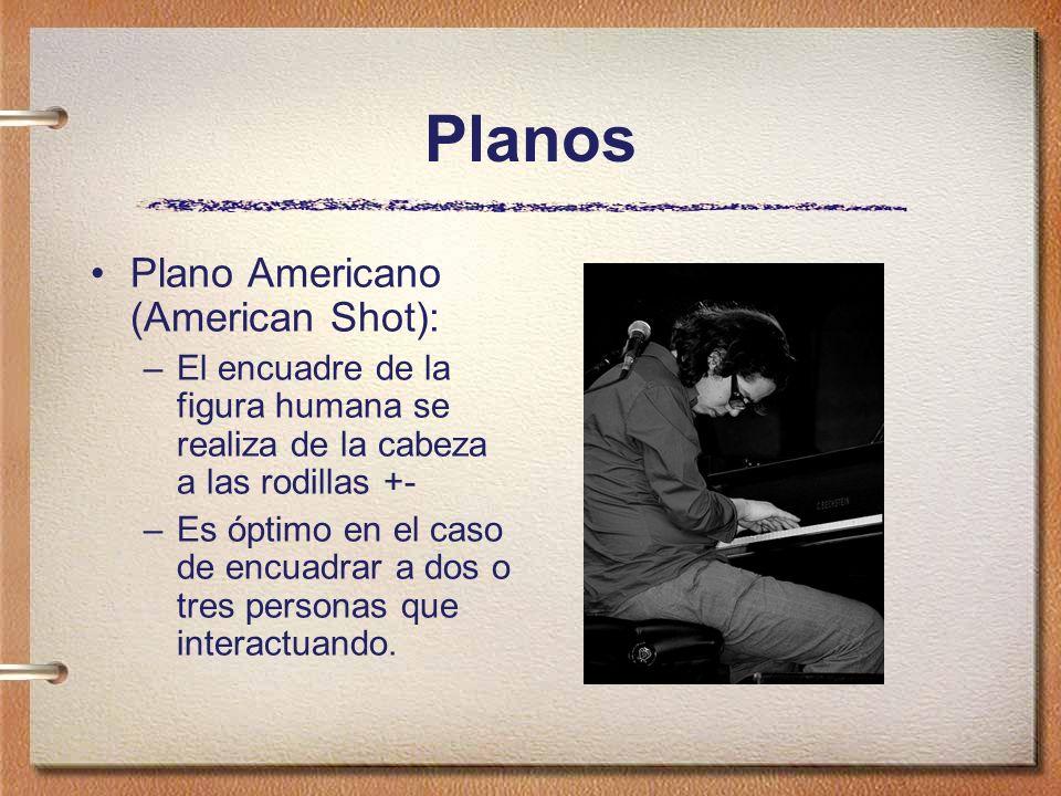 Planos Plano Americano (American Shot): –El encuadre de la figura humana se realiza de la cabeza a las rodillas +- –Es óptimo en el caso de encuadrar