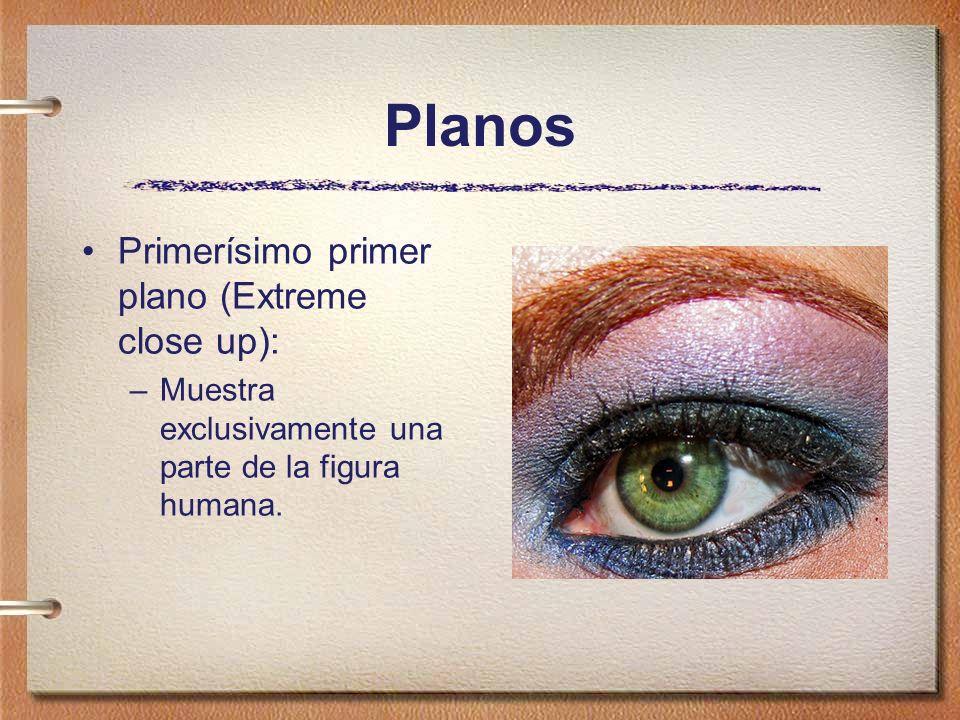 Planos Primerísimo primer plano (Extreme close up): –Muestra exclusivamente una parte de la figura humana.