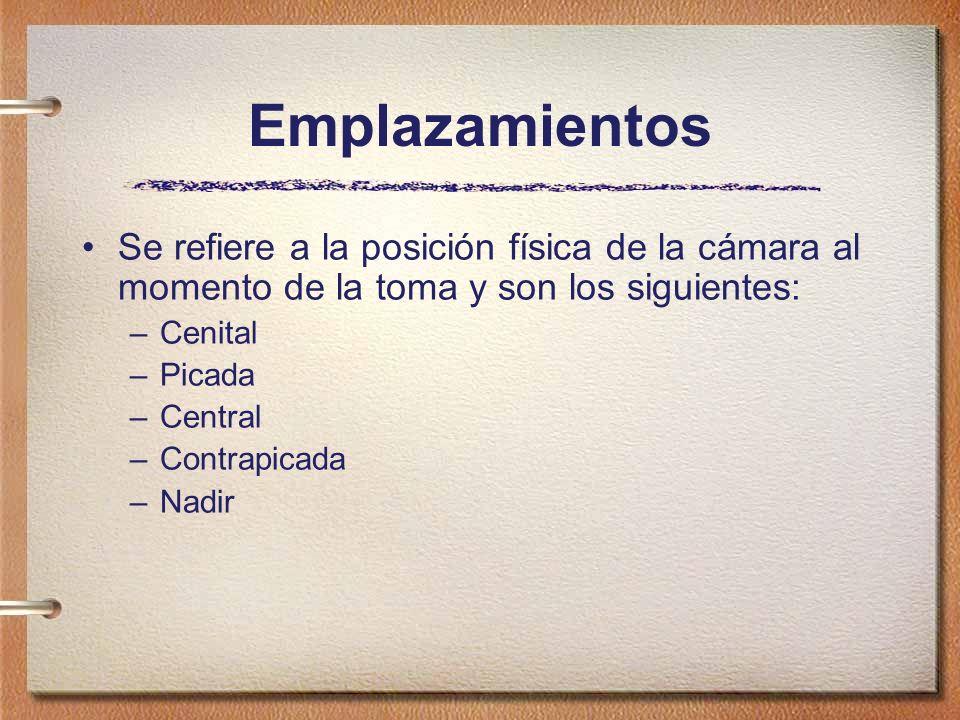 Emplazamientos Se refiere a la posición física de la cámara al momento de la toma y son los siguientes: –Cenital –Picada –Central –Contrapicada –Nadir