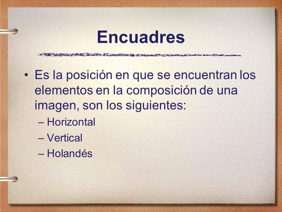 Encuadres Es la posición en que se encuentran los elementos en la composición de una imagen, son los siguientes: –Horizontal –Vertical –Holandés