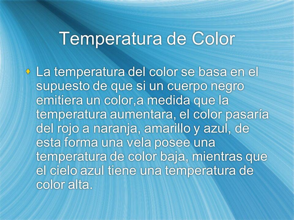 Temperatura de Color La temperatura del color se basa en el supuesto de que si un cuerpo negro emitiera un color,a medida que la temperatura aumentara, el color pasaría del rojo a naranja, amarillo y azul, de esta forma una vela posee una temperatura de color baja, mientras que el cielo azul tiene una temperatura de color alta.