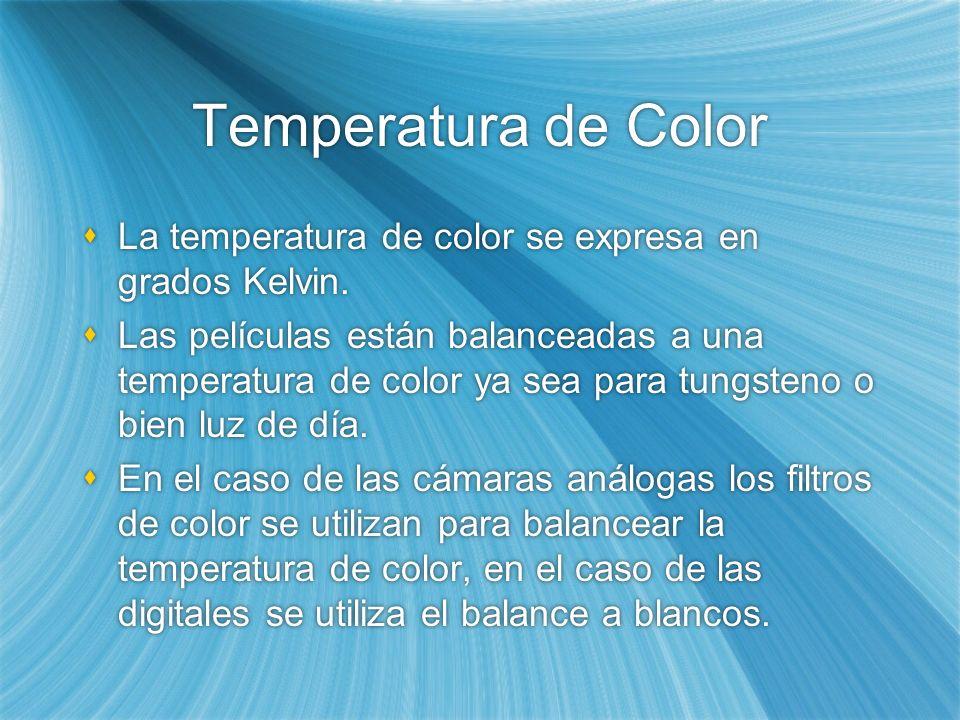 Temperatura de Color La temperatura de color se expresa en grados Kelvin. Las películas están balanceadas a una temperatura de color ya sea para tungs