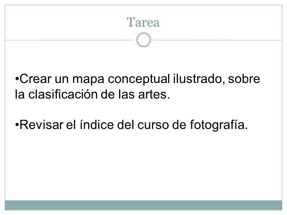 Tarea Crear un mapa conceptual ilustrado, sobre la clasificación de las artes. Revisar el índice del curso de fotografía.