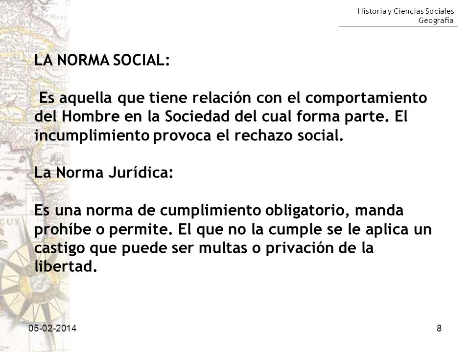Historia y Ciencias Sociales Geografía 05-02-20148 LA NORMA SOCIAL: Es aquella que tiene relación con el comportamiento del Hombre en la Sociedad del