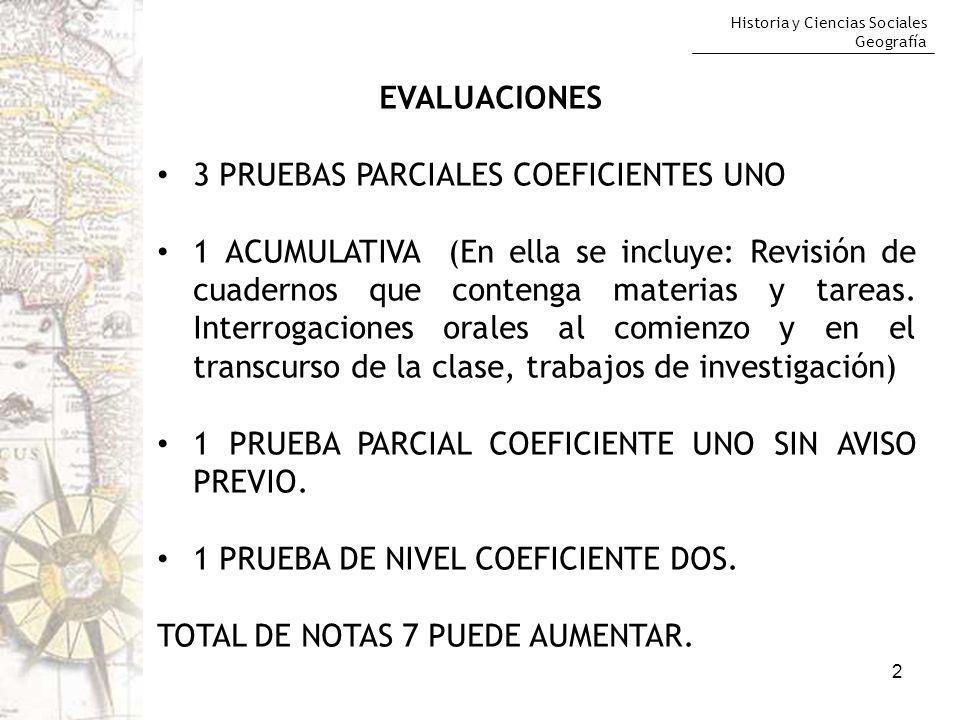 Historia y Ciencias Sociales Geografía 2 EVALUACIONES 3 PRUEBAS PARCIALES COEFICIENTES UNO 1 ACUMULATIVA (En ella se incluye: Revisión de cuadernos qu