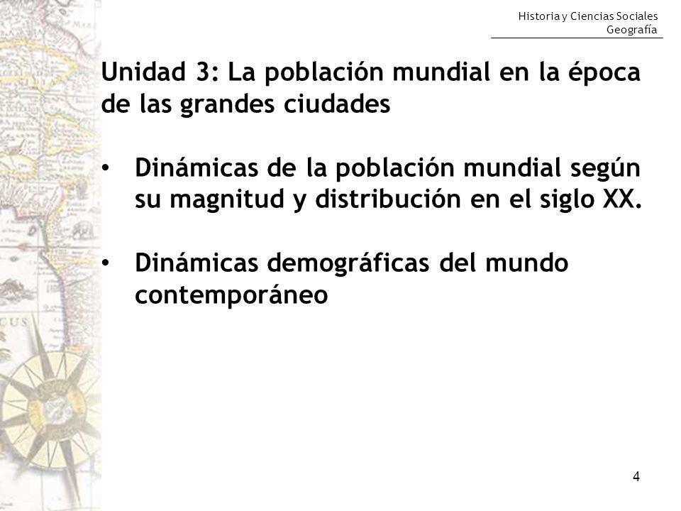 Historia y Ciencias Sociales Geografía 4 Unidad 3: La población mundial en la época de las grandes ciudades Dinámicas de la población mundial según su