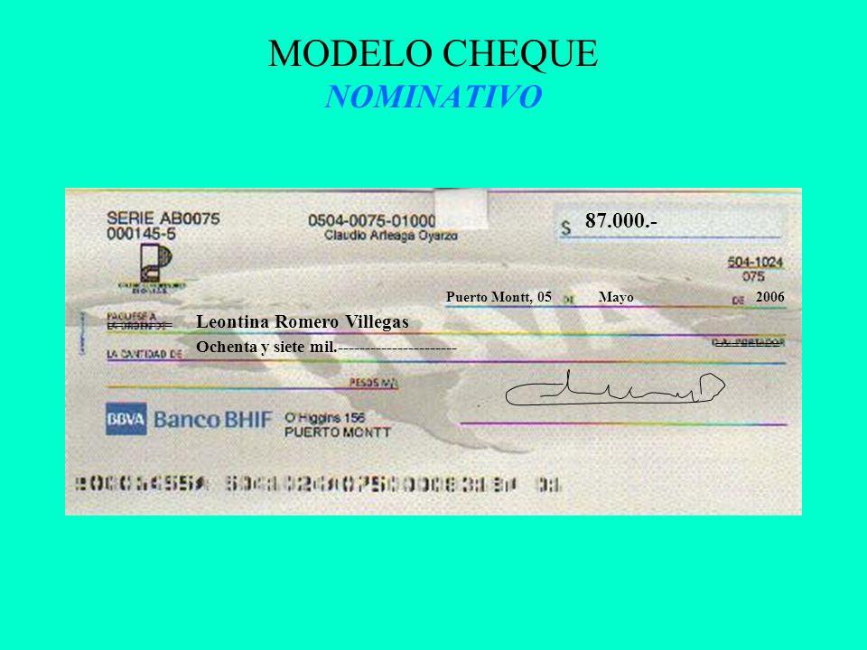 MODELO CHEQUE NOMINATIVO 87.000.- Puerto Montt, 05Mayo2006 Leontina Romero Villegas Ochenta y siete mil.---------------------- ========