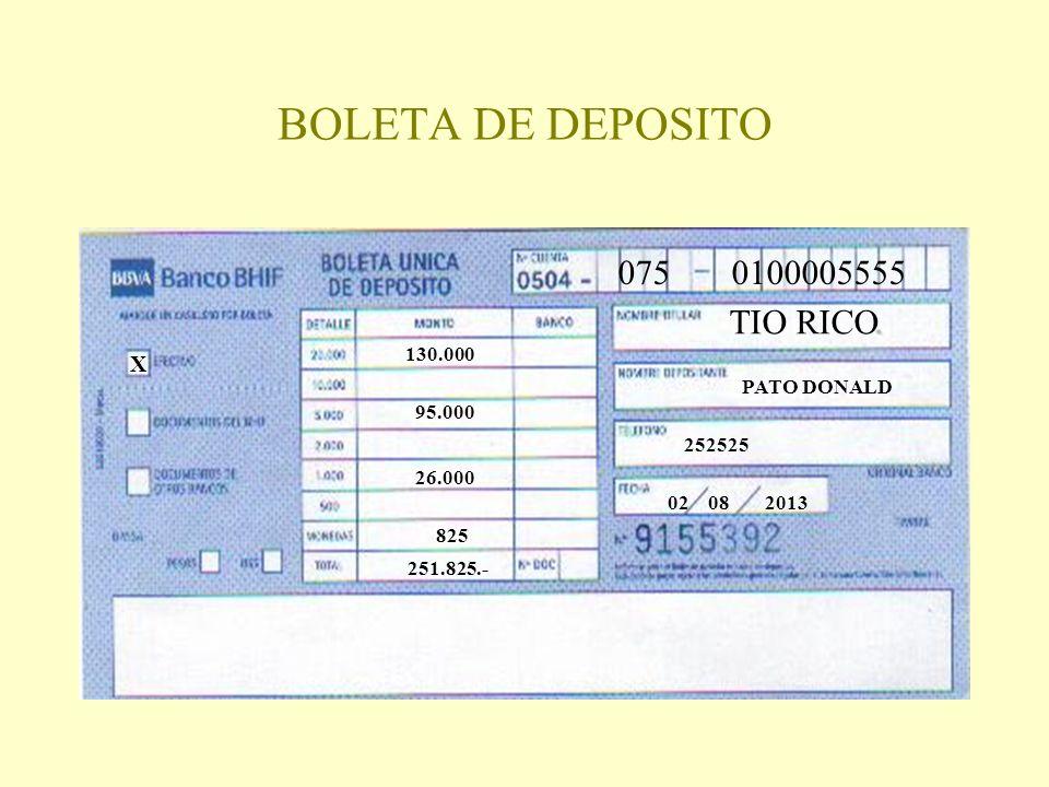BOLETA DE DEPOSITO 075 0100005555 TIO RICO PATO DONALD 252525 02 08 2013 X 130.000 95.000 26.000 825 251.825.-