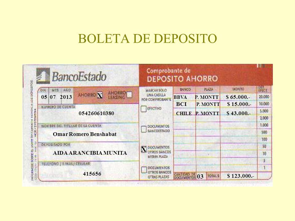 BOLETA DE DEPOSITO 05 07 2013 X 054260610380 Omar Romero Benshabat AIDA ARANCIBIA MUNITA 415656 X BBVA P. MONTT $ 65.000.- BCI P. MONTT $ 15.000.- CHI