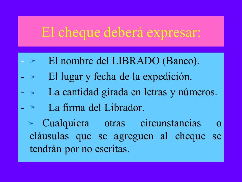 El cheque deberá expresar: - El nombre del LIBRADO (Banco). - El lugar y fecha de la expedición. - La cantidad girada en letras y números. - La firma