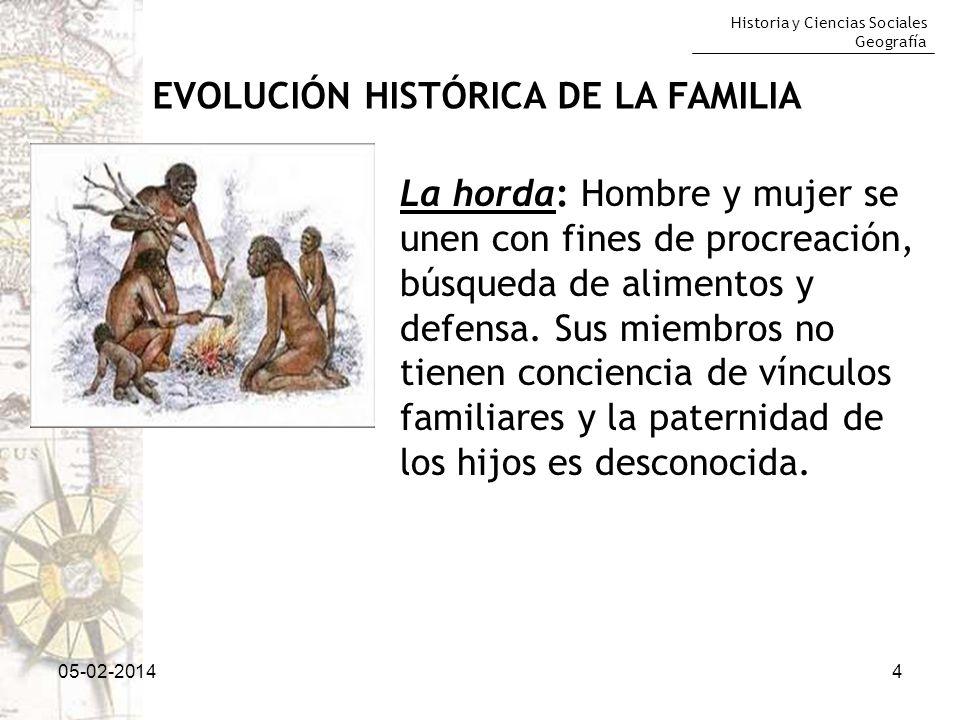 Historia y Ciencias Sociales Geografía 05-02-20144 EVOLUCIÓN HISTÓRICA DE LA FAMILIA La horda: Hombre y mujer se unen con fines de procreación, búsque