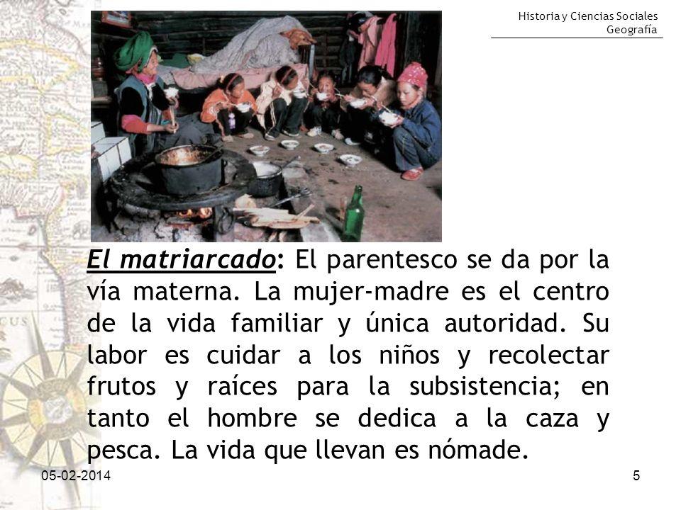 Historia y Ciencias Sociales Geografía 05-02-20145 El matriarcado: El parentesco se da por la vía materna. La mujer-madre es el centro de la vida fami
