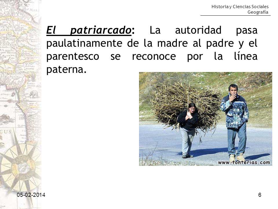 Historia y Ciencias Sociales Geografía 05-02-20146 El patriarcado: La autoridad pasa paulatinamente de la madre al padre y el parentesco se reconoce p