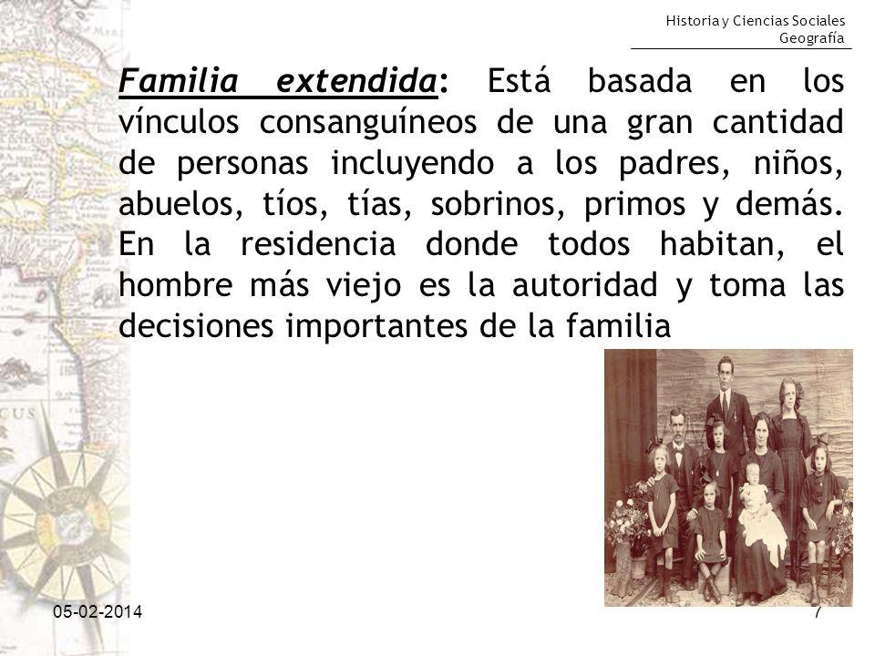 Historia y Ciencias Sociales Geografía 05-02-20147 Familia extendida: Está basada en los vínculos consanguíneos de una gran cantidad de personas inclu