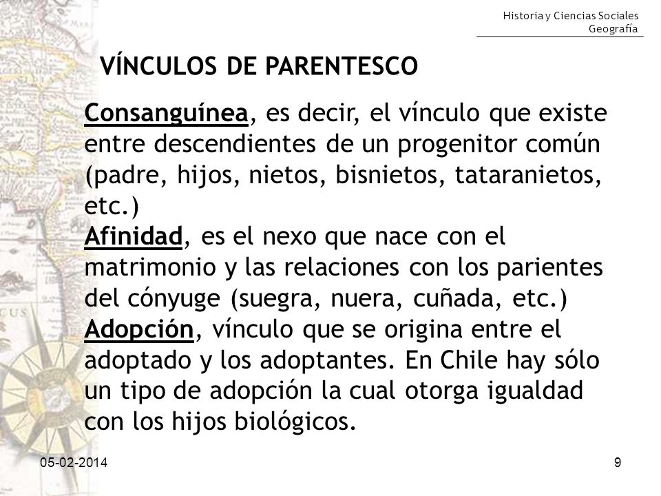 Historia y Ciencias Sociales Geografía 05-02-20149 VÍNCULOS DE PARENTESCO Consanguínea, es decir, el vínculo que existe entre descendientes de un prog