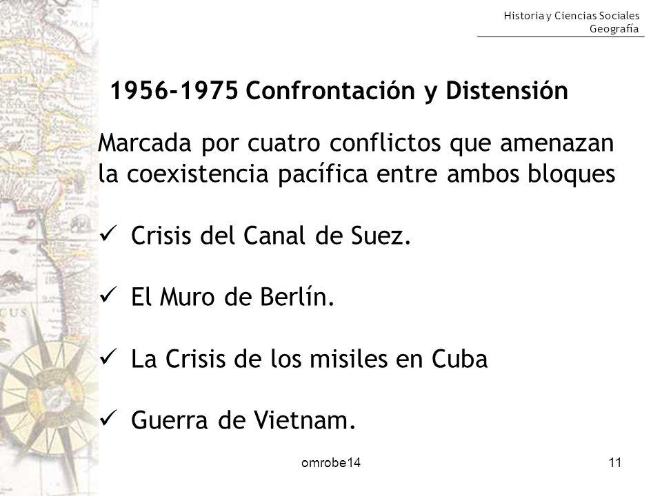 Historia y Ciencias Sociales Geografía 11 1956-1975 Confrontación y Distensión Marcada por cuatro conflictos que amenazan la coexistencia pacífica ent