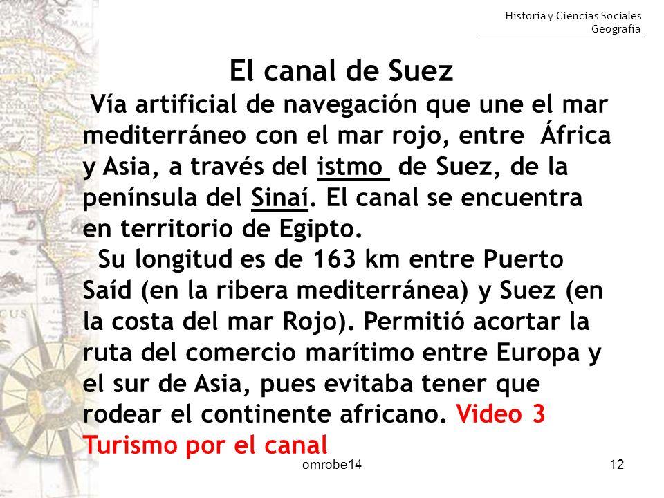 Historia y Ciencias Sociales Geografía 12 El canal de Suez Vía artificial de navegación que une el mar mediterráneo con el mar rojo, entre África y As