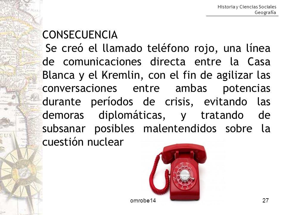 Historia y Ciencias Sociales Geografía 27 CONSECUENCIA Se creó el llamado teléfono rojo, una línea de comunicaciones directa entre la Casa Blanca y el