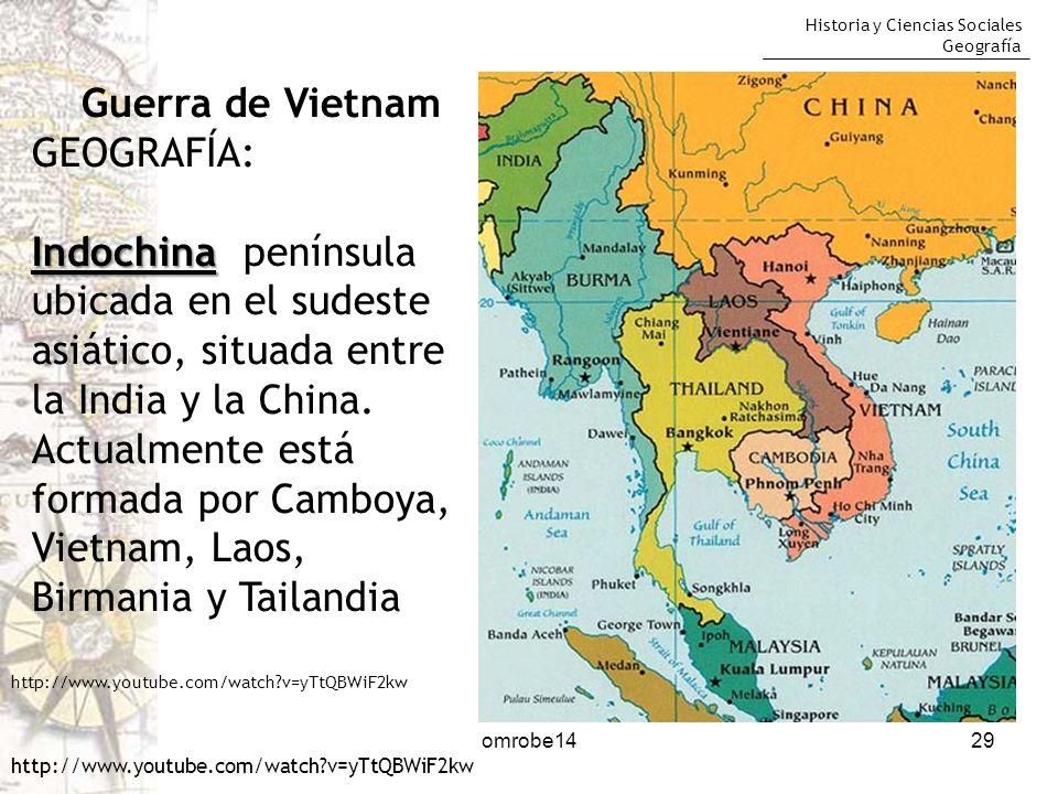 Historia y Ciencias Sociales Geografía omrobe1429 Guerra de Vietnam GEOGRAFÍA: Indochina Indochina península ubicada en el sudeste asiático, situada e