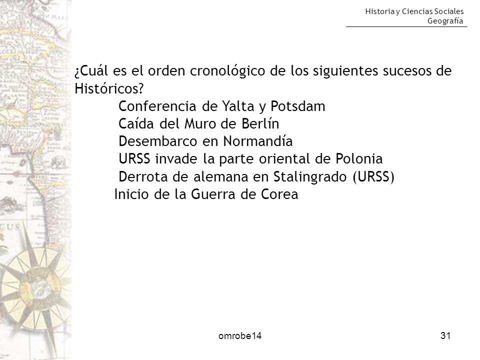Historia y Ciencias Sociales Geografía omrobe1431 ¿Cuál es el orden cronológico de los siguientes sucesos de Históricos? Conferencia de Yalta y Potsda