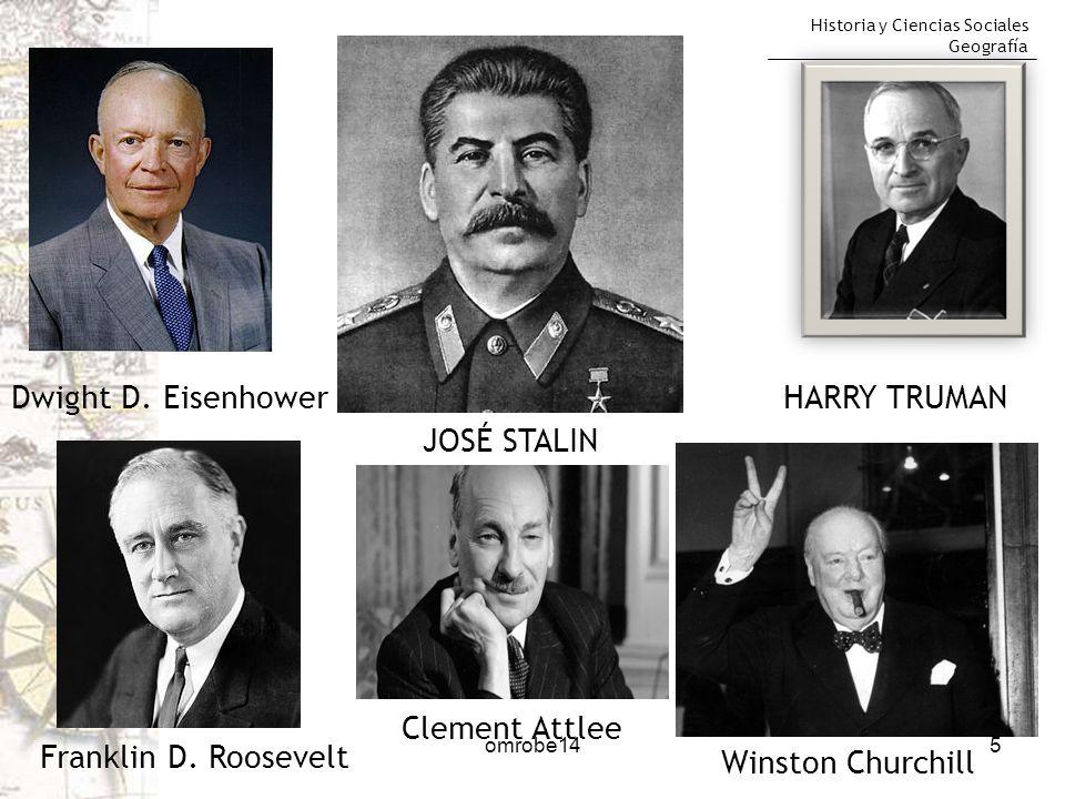 Historia y Ciencias Sociales Geografía 5 Winston Churchill HARRY TRUMAN JOSÉ STALIN Dwight D. Eisenhower Franklin D. Roosevelt Clement Attlee omrobe14