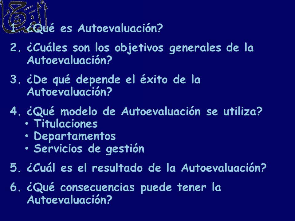 1.¿Qué es Autoevaluación? 2.¿Cuáles son los objetivos generales de la Autoevaluación? 3.¿De qué depende el éxito de la Autoevaluación? 4.¿Qué modelo d