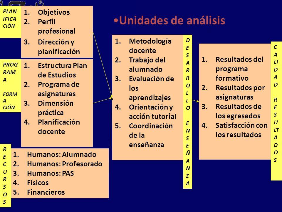 PLAN IFICA CIÓN 1.Objetivos 2.Perfil profesional 3.Dirección y planificación 1.Estructura Plan de Estudios 2.Programa de asignaturas 3.Dimensión práct