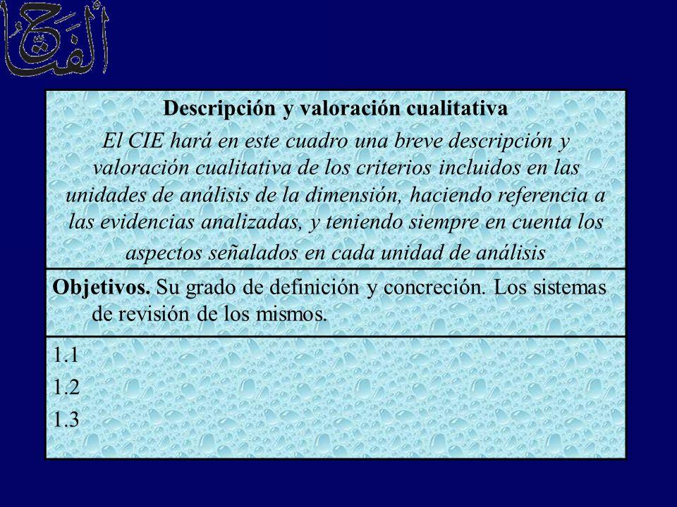 Descripción y valoración cualitativa El CIE hará en este cuadro una breve descripción y valoración cualitativa de los criterios incluidos en las unida