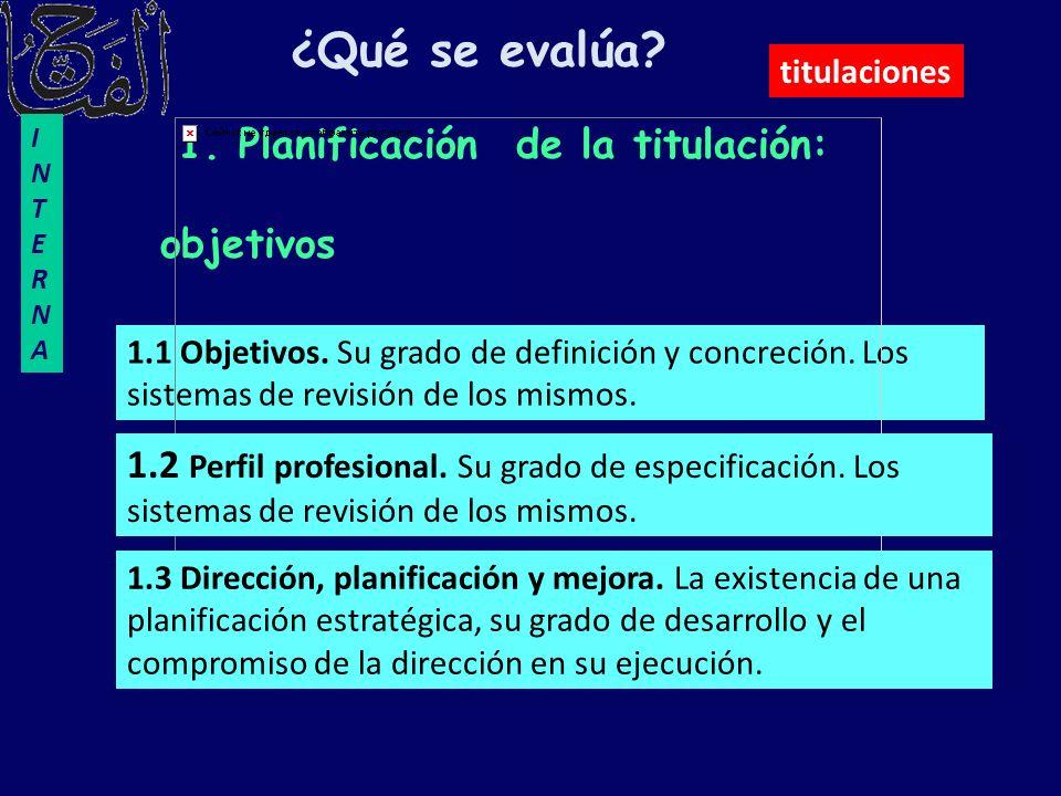 1. Planificación de la titulación: objetivos 1.1 Objetivos. Su grado de definición y concreción. Los sistemas de revisión de los mismos. ¿Qué se evalú